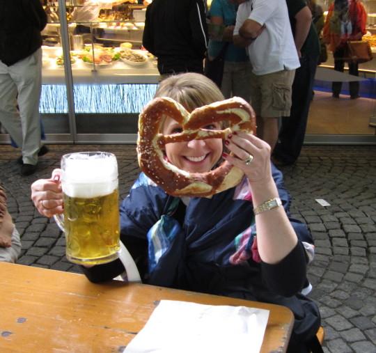 Eating large pretzel